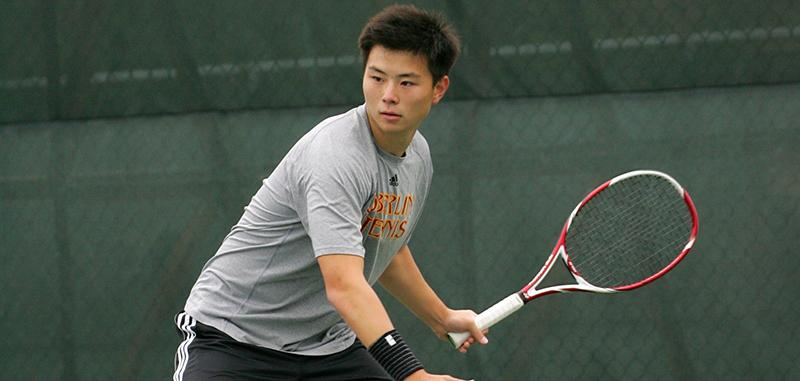 Sophomore Ian Paik prepares to return a shot in a game against the Allegheny College Gators last Saturday at the Don Hunsinger Courts. The Yeomen defeated the Gators 7–2 en route to the North Coast Athletic Conference Championships this weekend in Gambier, Ohio.