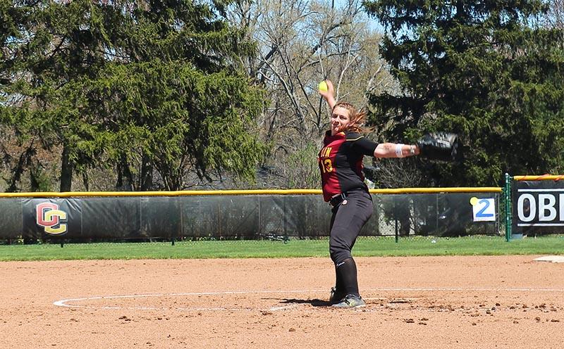 Senior co-captain and pitcher Katie Pieplow winds up for a pitch against the visiting Franciscan University Barons last Sunday, April 26. The softball team celebrated its Senior Day with doubleheader victories over the Barons, 5–4, 10–1. The Yeowomen graduate senior co-captains Pieplow and Jenny Goldsmith this year, but the vast majority of the roster will return next fall. Softball concludes its lengthy season with a 3–12–1 conference record and a 6–28–2 overall record.
