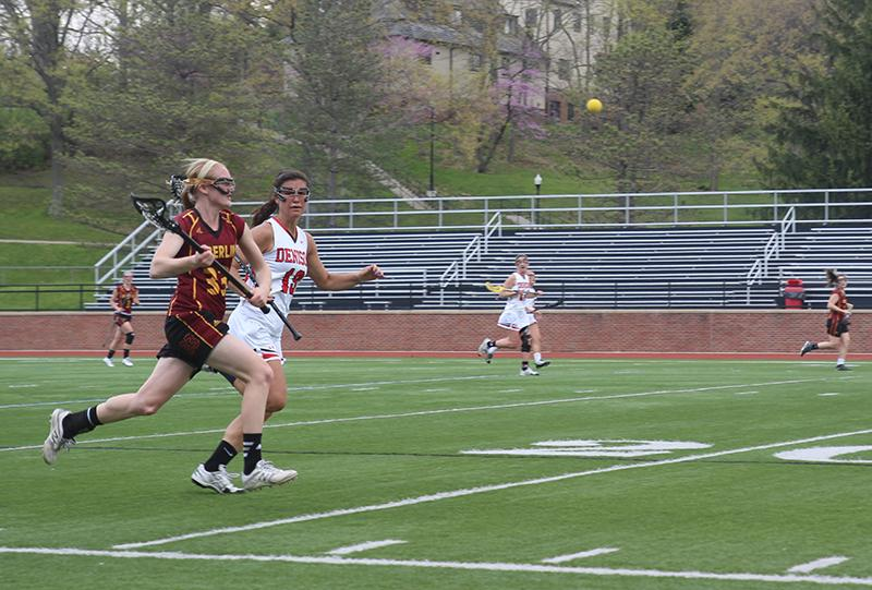 Junior+midfielder+Grace+Barlow+sprints+to+catch+the+ball+in+a+game+against+the+Denison+University+Big+Red+last+Saturday+in+Granville%2C+Ohio.+The+Yeowomen+fell+14%E2%80%937+in+what+was+their+last+game+of+the+season.