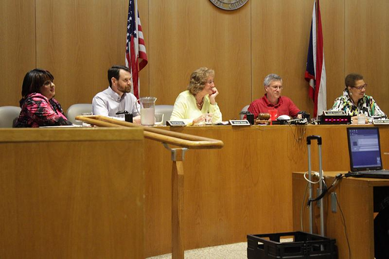 Council members Sharon Pearson, Bryan Burgess, Sharon Fairchild- Soucy, Scott Broadwell and Elizabeth Meadows at a City Council meet- ing on Monday. The Oberlin Community Benefits Council asked the City Council to delay a decision on Green Acres until OCBC could get more community feedback.