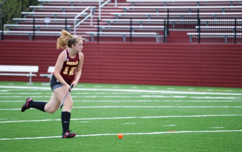 Junior attacker and Review Business Manager Maureen Coffey dribbles toward a breakaway on Bailey Field. The Yeowomen fell to a late-game surge by the Denison University Big Red during their home opener on Wednesday, Sept. 9.