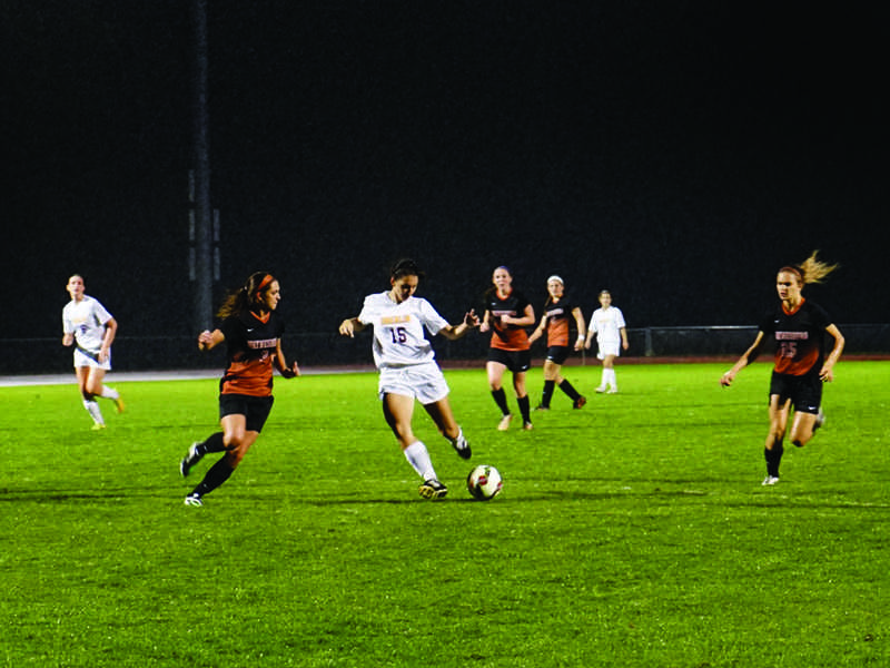 Junior forward Taylor French takes aim on goal against the visiting Waynesburg University Yellow Jackets. French notched her third goal of the season this past Wednesday against the Muskies of Muskingum University. The Yeowomen are currently 5–2–1 overall and will travel to DePauw University Saturday for their first Conference game of the season.
