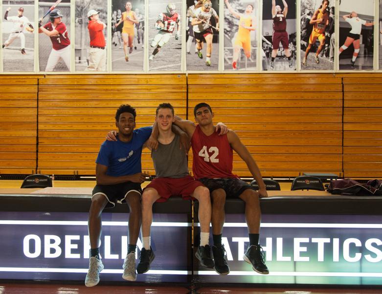 Men's basketball first-years Nile Godfrey (left), Spencer Seabaugh and Ryan Lockman
