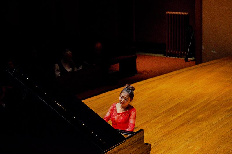 Pianist Ran Jia, who studied at the prestigious International Piano Academy Lake Como, plays Schubert's tension-filled Sonata in C Minor. She performed at Finney Chapel last Sunday along with two other Lake Como pianists, Alessandro Deljavan and Marcos Madrigal.