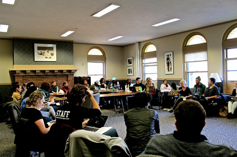 Students and faculty members discuss the most recent draft of the Board of Trustees' Strategic Plan at a listening session on Monday. Students expressed concern over the Strategic Plan's language, which they called ambiguous and unpromising.