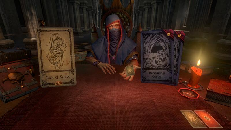 A character from Hand of Fate deals to the player. The video game, a trading card simulator with third- person combat elements, suffers from graphical issues and an overemphasis on luck.