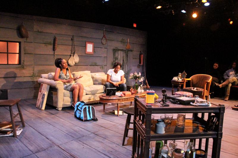 In College senior Preston Crowder's play The Monsters Underneath, Giselle (College junior Zoe Davidson) argues with her daughter Syn (College sophomore Deja Alexander). The play, which deals with the effects of abuse and subsequent healing processes, premiered at Little Theater Dec. 3–6.