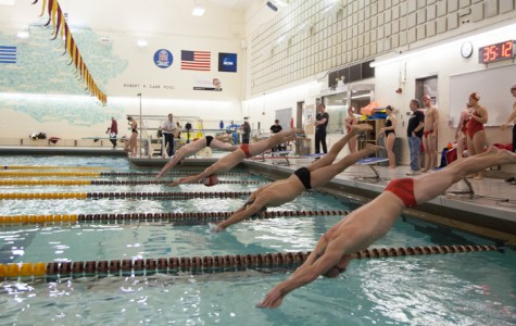Two Yeomen catapult off the starting blocks in Oberlin's dual meet against the Wittenberg University Tigers Saturday, Nov. 14. The swimming and diving team anticipates competitive races across the board at the Fredonia Invitational this weekend.