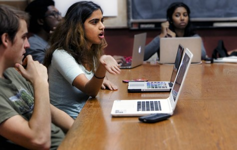 Student Senator and College sophomore Anjali Kolachalam speaks at plenary on Sunday. Senate, Dean of Students Eric Estes and the Board of Trustees have worked together to start a new Student Support Fund for small grants for low-income students.
