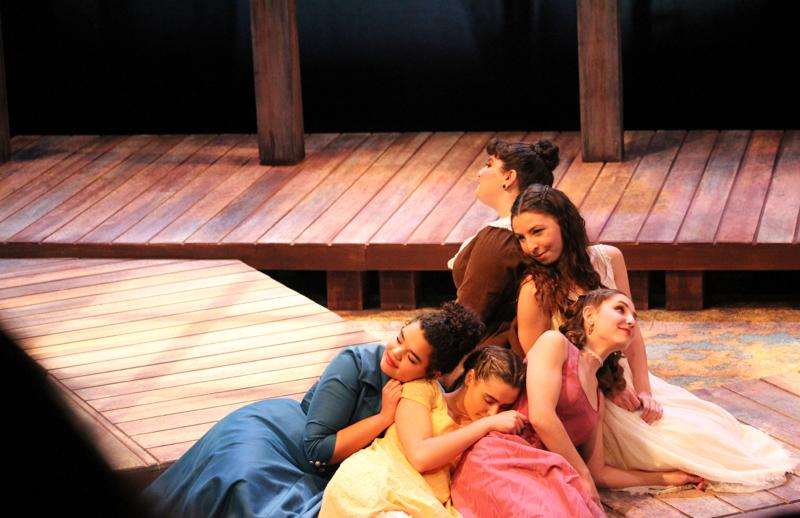 College first-year Abby Bordin as Violet, double-degree junior Amy Weintraub as Masha, College sophomore Chandler Browne as Márya Aleksándrovna, College sophomore Zoe Kushlefsky as Kátya and College first-year Magda Demetriadou as Sónya perform in Leo Tolstoy's Family Happiness. The play ran in Hall Auditorium Feb. 4–7.