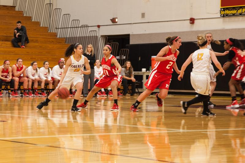 Junior guard Bri Santiago dribbles at the top of the key against the visiting Denison University Big Red Wednesday. Santiago grabbed four rebounds and two steals in the contest, but the Yeowomen were defeated to the tune of 45–44. The Yeowomen are now 4–8 in the NCAC and 10–11 overall.