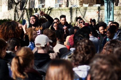 Students rally at a Black Lives Matter protest outside Wilder Hall on November 20. The demonstration addressed racism on college campuses across the country, and was held several weeks in advance of the release of the 14-page document.