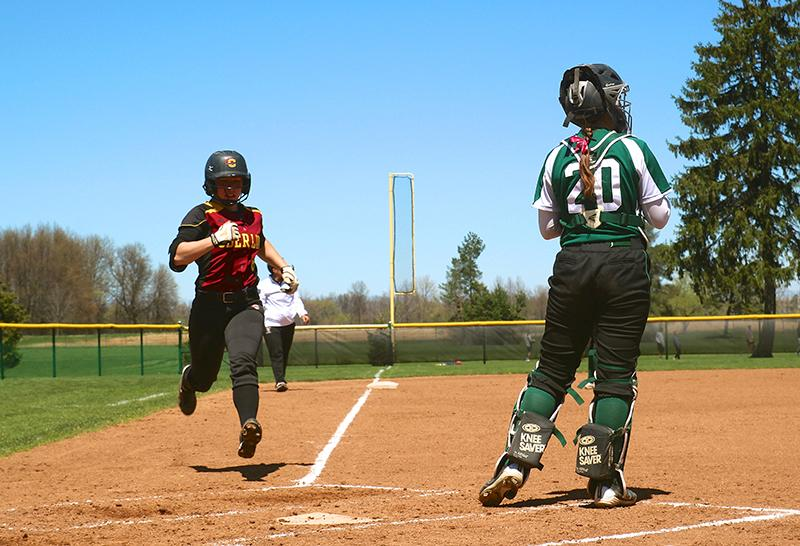 Junior Tori Poplaski crosses home plate. The Yeowomen were defeated by Greenville College and Rhodes College at their opening tournament in Memphis, TN, this weekend but look forward to their next game against Ursuline College on Wednesday, March 9.