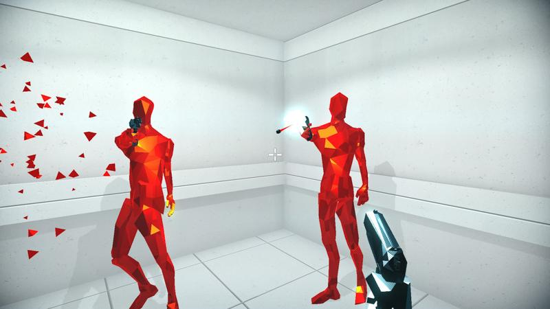 Polygonal enemies fire at the player in the videogame SUPERHOT. The minimalist aesthetic and incorporation of aspects of puzzle games make SUPERHOT truly innovative.
