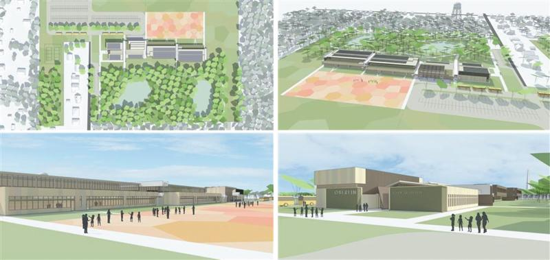 Graphical representations of Oberlin's potential new school are shown. A bond for constructing a new pre-K through fifth grade school building may be put on the November ballot.