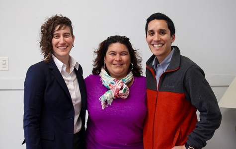 Board members of ¡Presente!: Naomi Campa, board social co- ordinator (left), Isabella Moreno, board president and Fabian Fuertes, board treasurer. The organization is the first Latinx faculty group on Oberlin's campus.