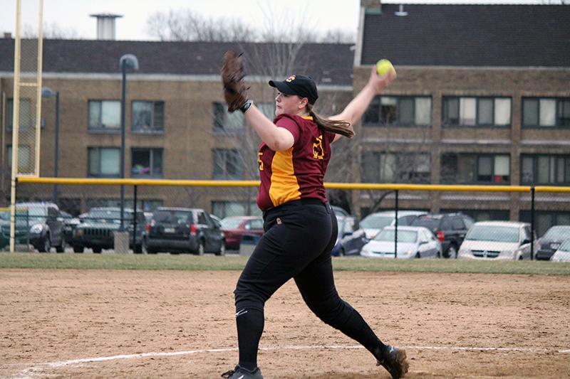 First-year pitcher Hannah Rasmussen delivers a pitch to her Ursuline College opponent March 9 in Pepper Pike, Ohio. The Yeowomen split their doubleheader Wednesday with the Allegheny College Gators, earning their first conference win of the season.