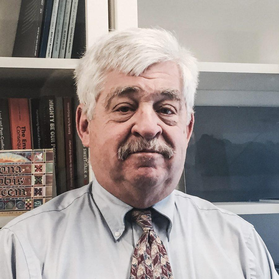 """Charles """"Chip"""" Hauss, OC '69, came to campus Thursday to deliver a talk titled """"Ending the 'Permanent War': Peacebulding through Human Security."""" He is the author of Security 2.0: Dealing with Global Wicked Problems."""