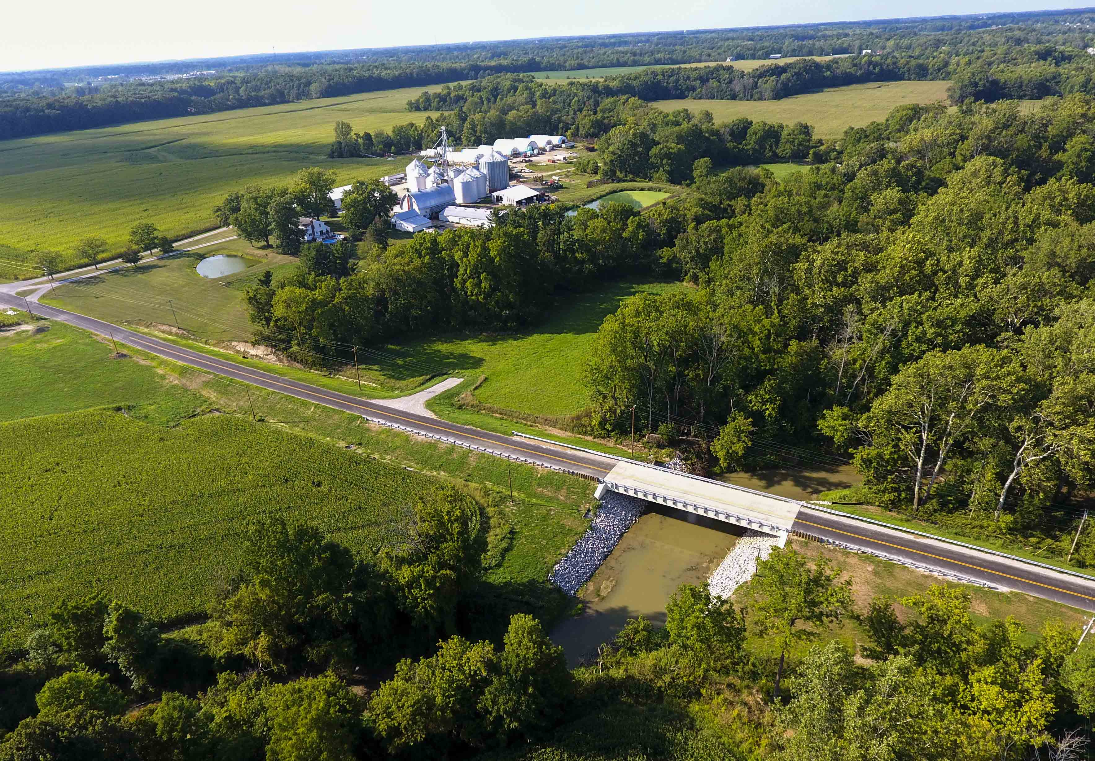 An aerial view taken by drone of the Dechant-Notley Farms overlooking the Black River. Between 600 and 800 gallons of fuel poured into the river from the farm on Aug. 28.