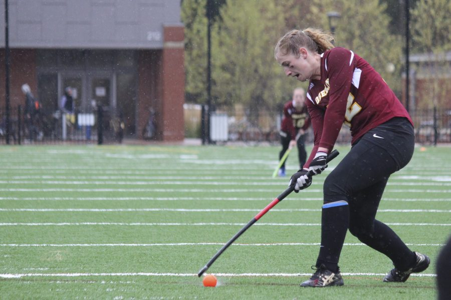 Senior+attacker+Maureen+Coffey+prepares+for+a+shot.+The+Yeowomen+will+look+to+secure+their+first+win+in+their+home-opener+against+Earlham+College+Saturday+at+11+a.m.+