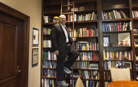 President Marvin Krislov poses in his office in the Cox Administration Building. In an email Tuesday morning, Krislov announced he will conclude his tenure at Oberlin on June 30, 2017.
