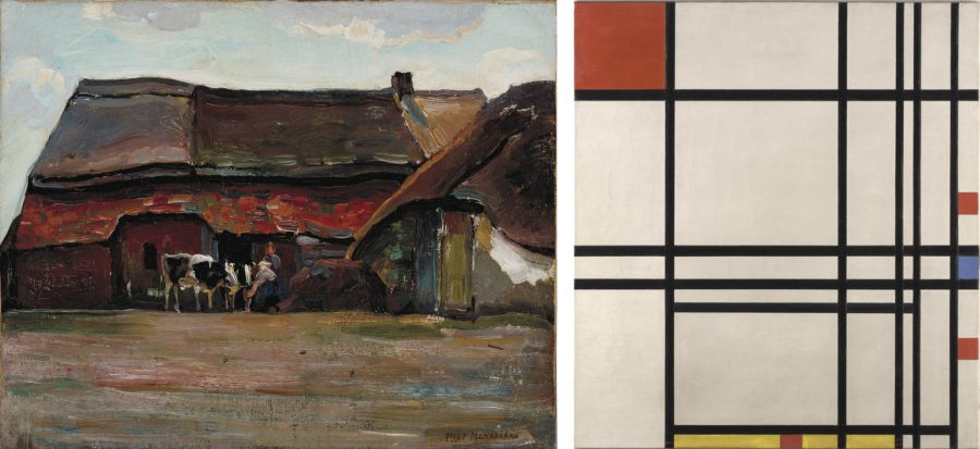 Brabant Farmyard, left, and Abstraction, right, are currently on display at the Allen Memorial Art Museum. The latter is on loan from Fort Worth's Kimbell Art Museum.