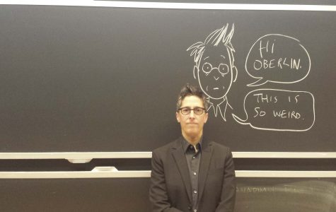 MacArthur Genius Alison Bechdel, OC '81, author of the award-winning graphic novel Fun Home and co-creator of the famed Bechdel Test, returned to Oberlin to present to an audience of students and professors Tuesday.