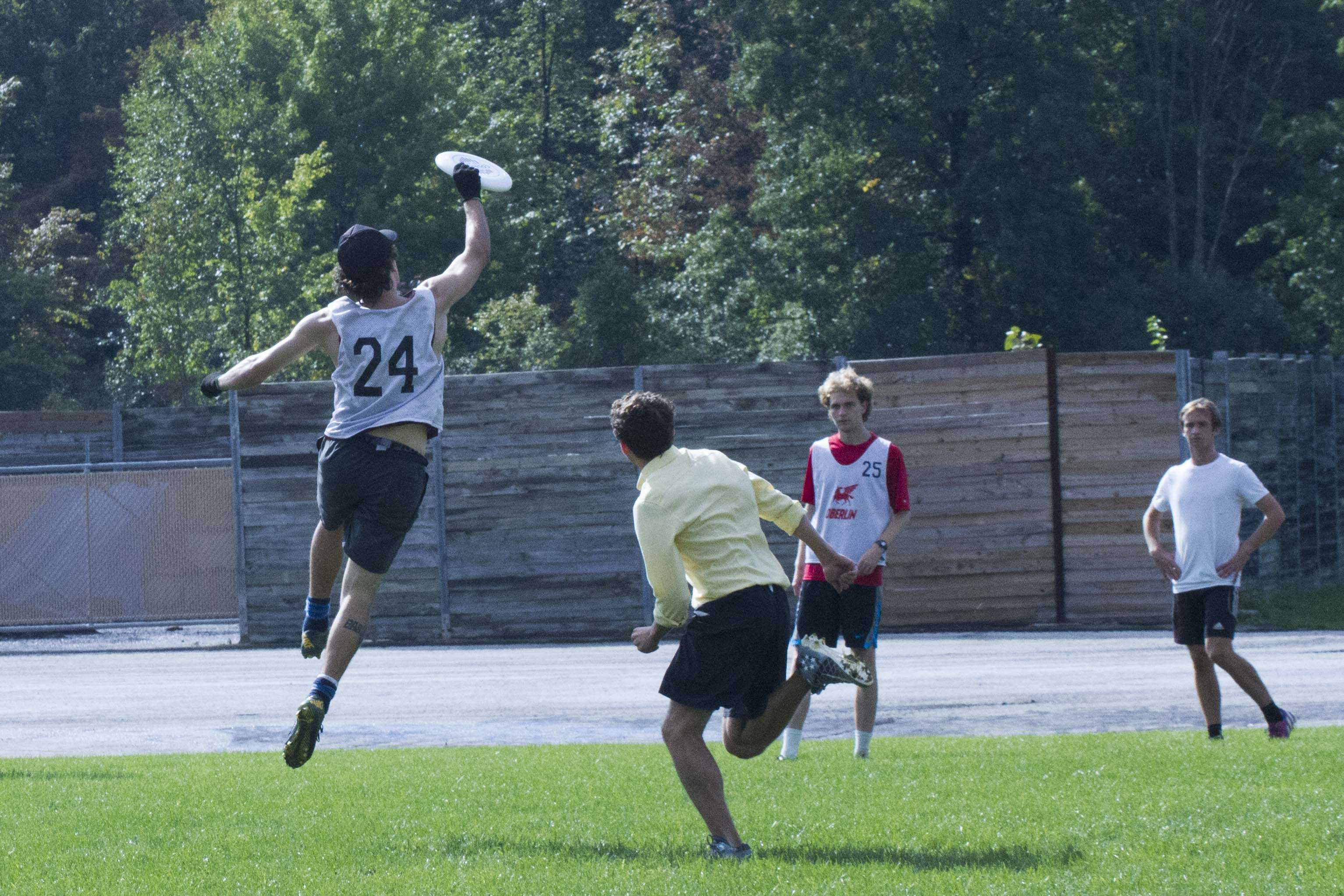 Flying horsecows captain Peter LaFreniere makes a leaping catch during the team's practice.