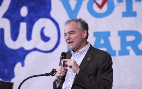 Democratic Vice Presidential candidate Tim Kaine gives a speech at Lorain High School Thursday. The candidates are bitterly battling for Ohio's 18 electoral votes.