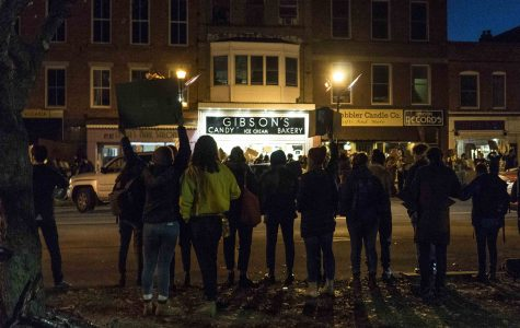 Students chant across the street from Gibson's Bakery in Tappan Square Thursday evening. Protests ran from around 11 a.m. until Gibson's closed at 11 p.m.