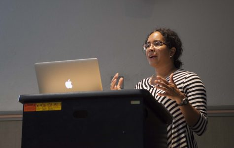 Comparative American Studies Professor Gina Pérez, participates in a teach-in Monday.