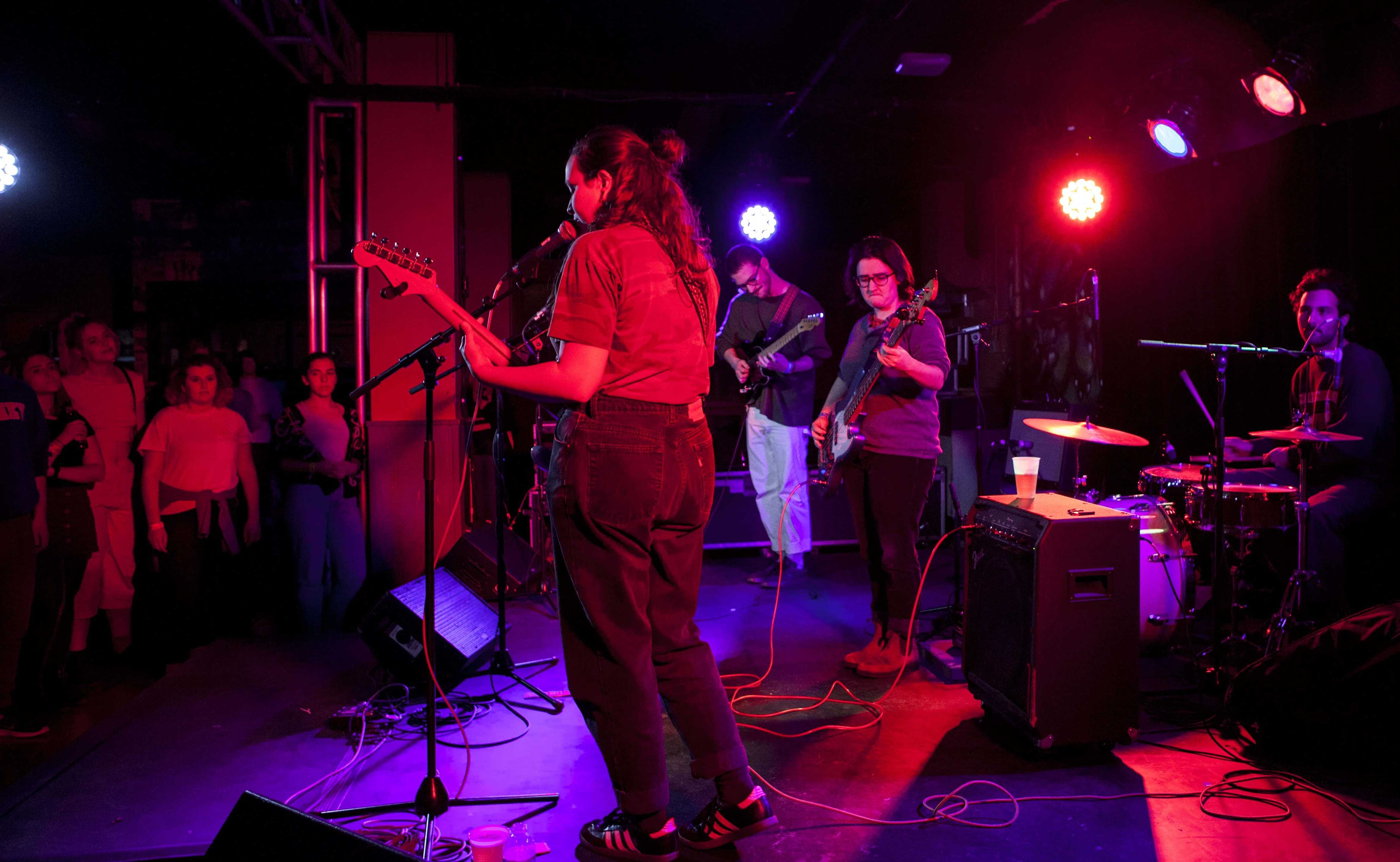 Kenyon alumni perform together as the basement rock band SPORTS. The group concluded its tour at the 'Sco Monday night with songs from its sophomore record All of Something.
