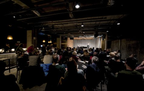 Audience members attend a performance at the Birenbaum Innovation and Performance Space, a new venue for concerts and classes that opened Jan. 23 at the Peter B. Lewis Gateway Center.