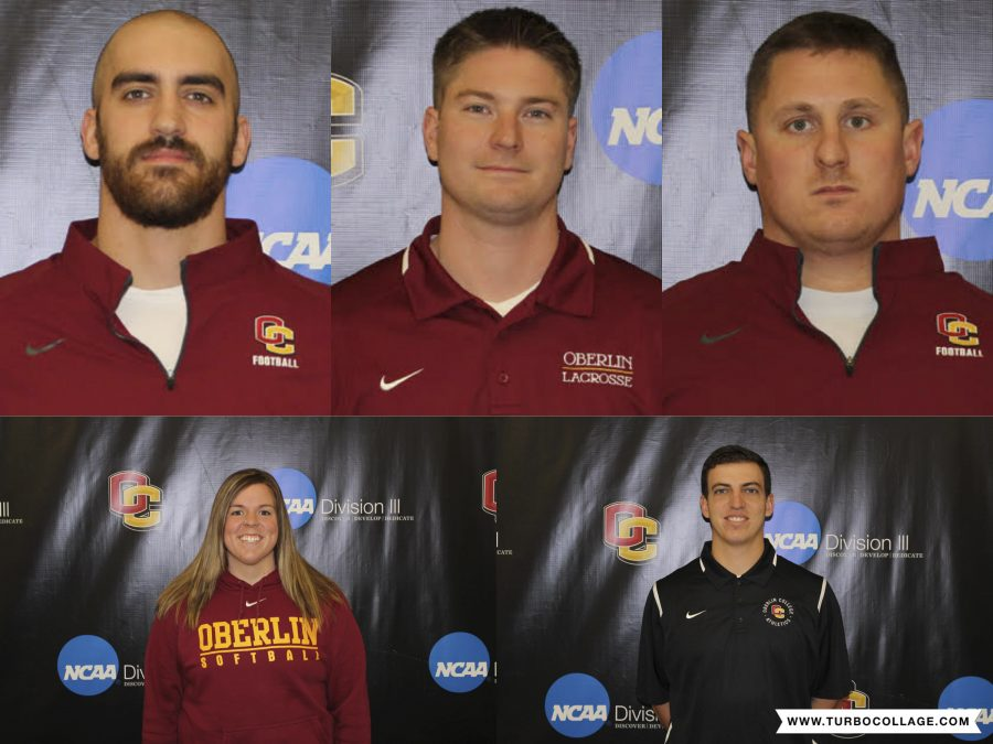 The+Oberlin+Athletics+Department+ushered+in+five+new+assistant+coaches+this+January.+Top+row+%28left+to+right%29%3A+Ben+Gysin%2C+Alec+Chisholm+and+Garrett+Mack.+Bottom+row+%28left+to+right%29%3A+Olivia+Wulfhoop+and+Brandon+Jossey.+