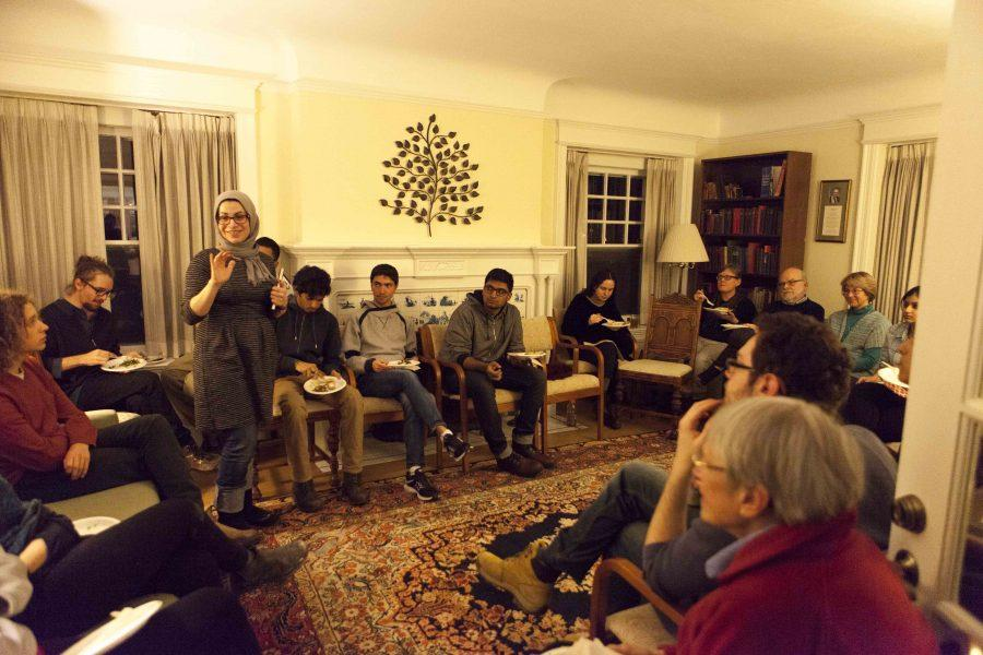 Muslim Student Association Advisor Maysan Haydar speaks at the Office of Religion and Spiritual Life gathering for Oberlin's Muslim community in Lewis House Wednesday. The gathering was intended to provide support and a space to voice concerns and ideas about protecting vulnerable Muslim students, faculty and staff.