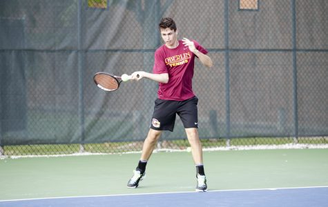 First-year Stephen Gruppuso loads up for a forehand. Grupposo earned wins at No. 3 singles and No. 2 doubles in Oberlin's decisive 6¬–2 victory over conference rival Wabash College Saturday.