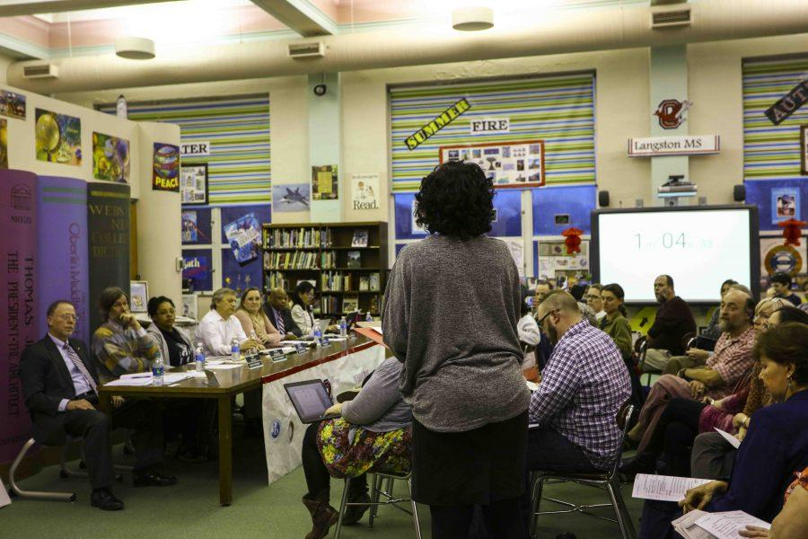 A community member addresses the Oberlin School Board Tuesday evening in Langston Middle School. Various Lorain Education Board members urged the state to reduce the number of required standardized tests.
