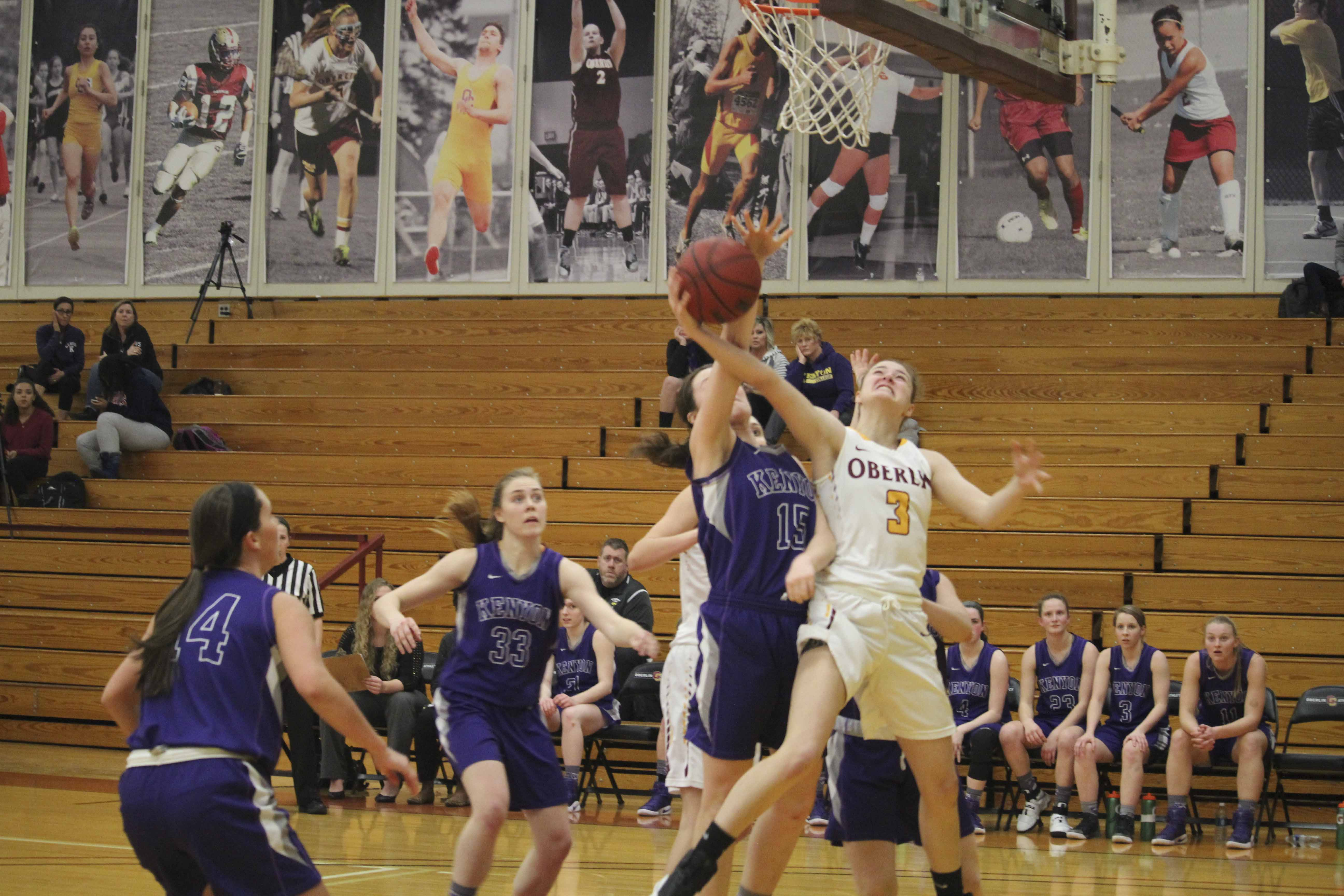 First-year guard Ally Driscoll puts up a contested layup in Oberlin's game against the Kenyon College Ladies Wednesday. Oberlin's 52–41 win over Kenyon boosts its record to 7–6 in NCAC play.