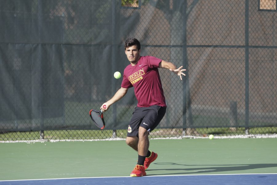 Senior Paul Farah eyes a forehand. The Yeomen finished their spring trip to Hilton Head, SC with a perfect 5–0 record.