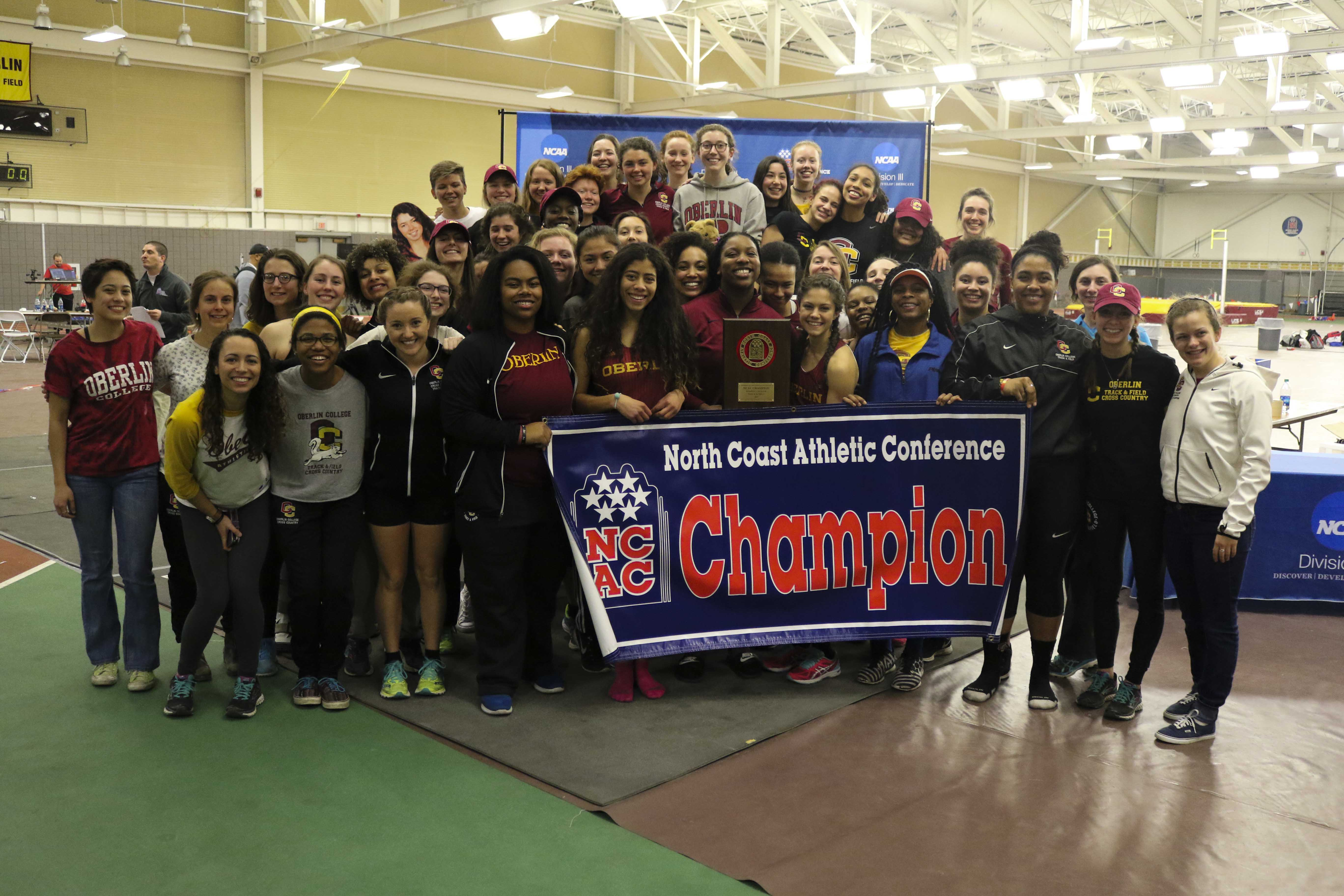 Women's track and field recorded its first outright indoor conference championship in program history last weekend, defeating Ohio Wesleyan University by a 38 point margin.