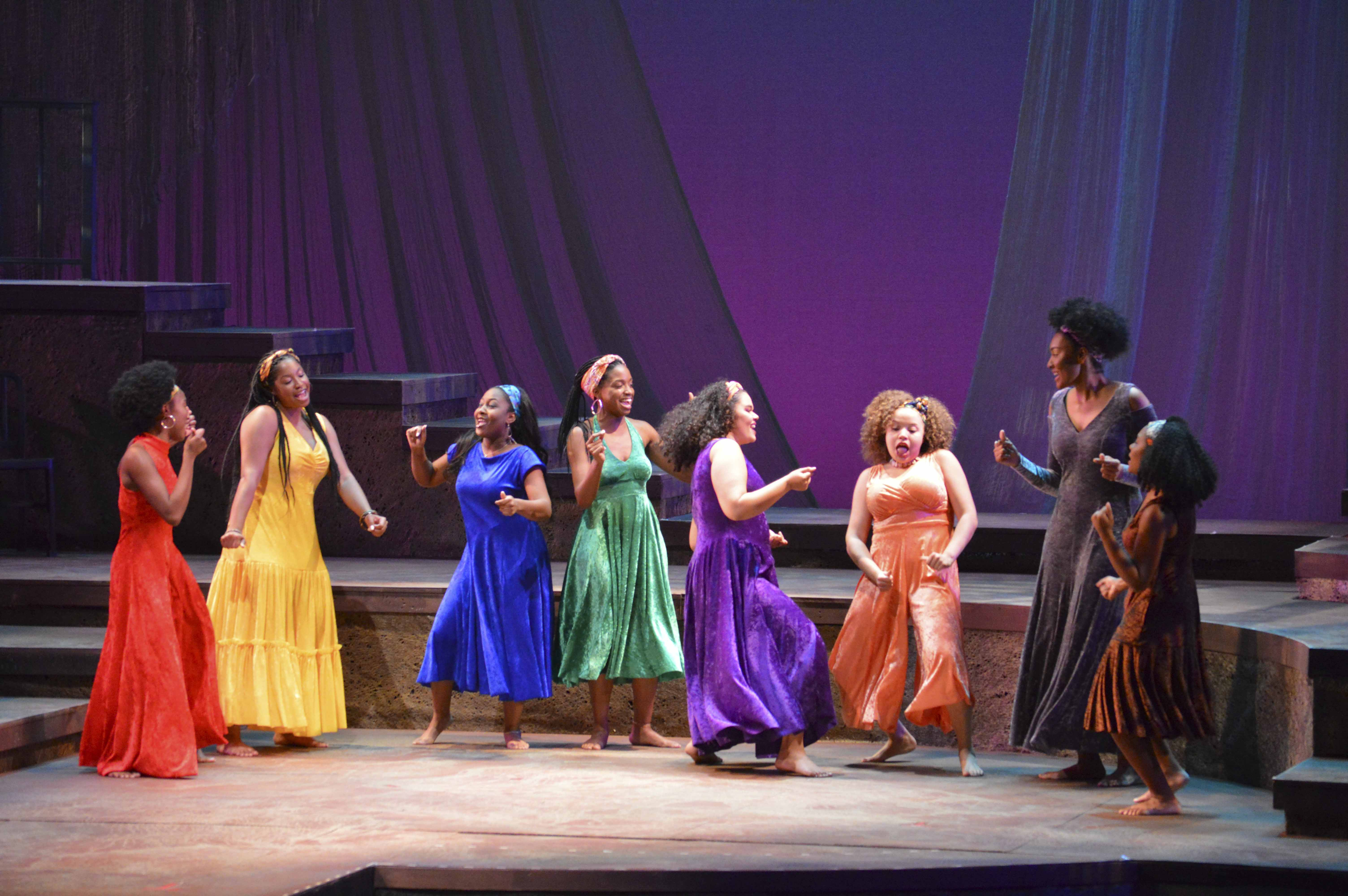 The cast of for colored girls who have considered suicide / when the rainbow is enuf performs a dress rehearsal Wednesday evening. The production opened yesterday at 7:30 p.m.