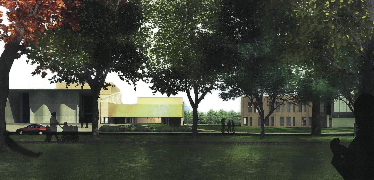 A mockup of the Hall Annex renovation and expansion shows a projection of how the completed building will look. The $14-million project will begin in June and is expected to be finished by summer 2018.