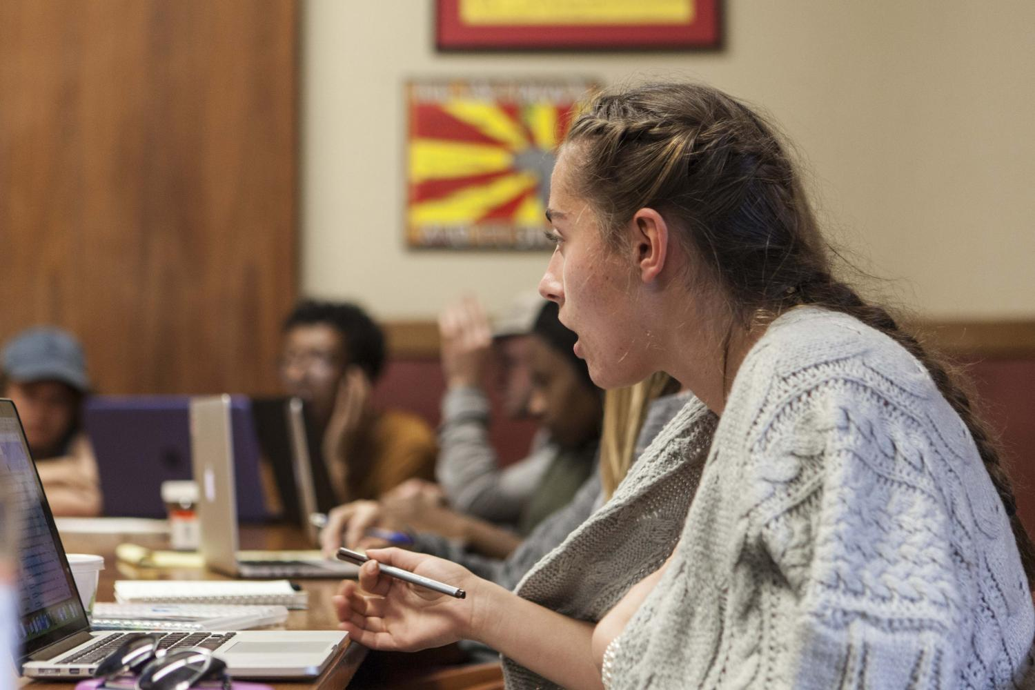 Student Senator and College sophomore Meg Parker speaks at Sunday's Student Senate plenary. Senators are drafting a proposal for a Central Budgeting Committee that will allow students, faculty and staff to participate in the College's financial decision-making processes under a nondisclosure agreement.