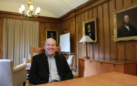 President Marvin Krislov sits in the Cass Gilbert conference room. Krislov departs at the end of this semester after a decade at Oberlin to become president of Pace University this fall.