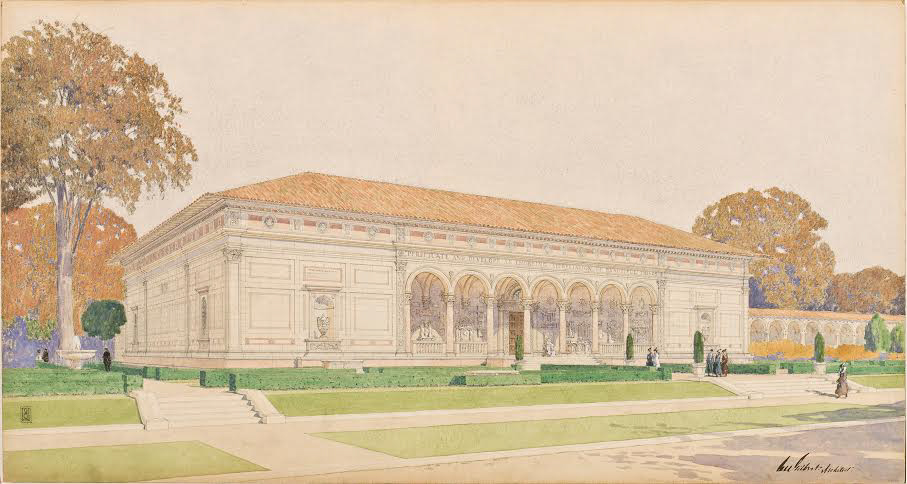 Architect+Cass+Gilbert%E2%80%99s+illustration+of+the+exterior+of+the+Allen+Memorial+Art+Museum+as+it+appeared+in+1917.+The+museum+celebrates+its+centennial+this+year.