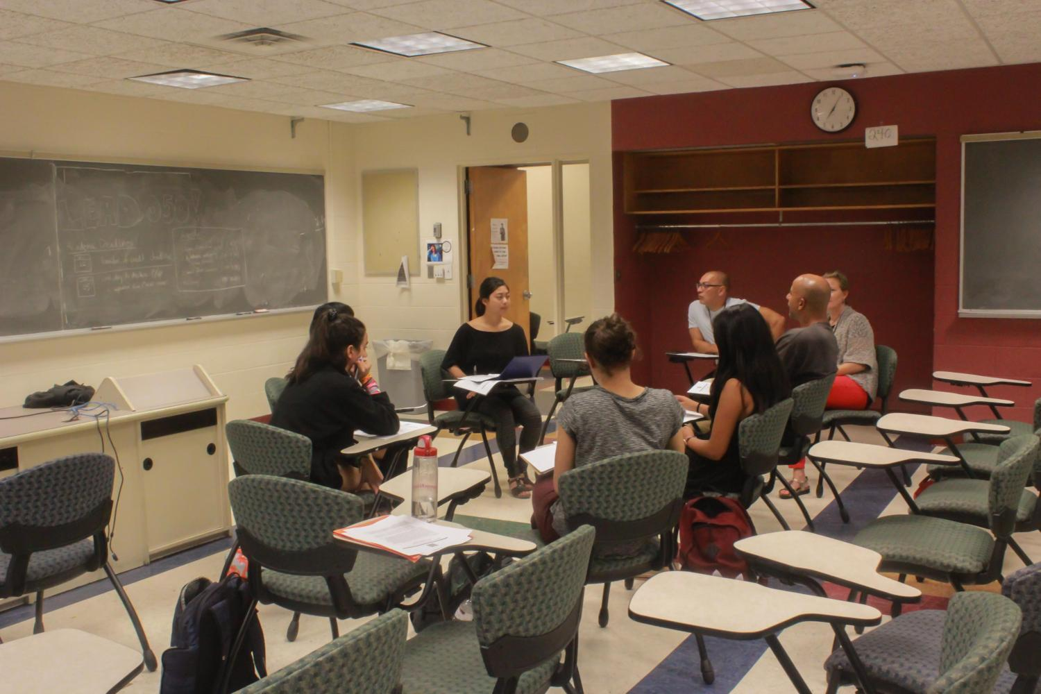 College sophomore Kara Nepomuceno leading a PAL meeting. PAL was created this year to help first-years acclimate to college life under the leadership of student advisors.