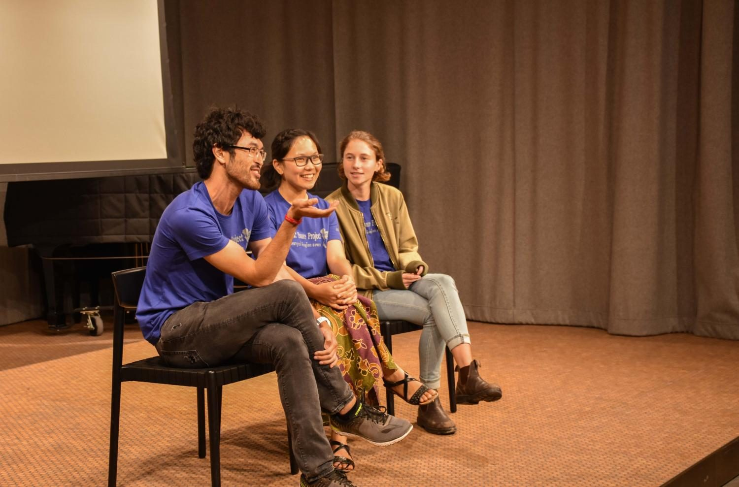 Matt Blankinship, OC '17, fifth-year Thanisa Durongkaveroj, and Anna Treidler, OC '17, spoke about their experiences in Thailand at a screening of their documentaries about Thailand's education system Saturday night.
