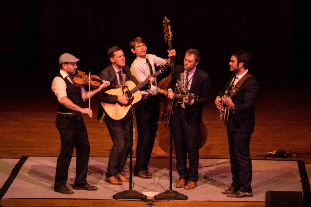 The+Punch+Brothers+perform+in+Finney+Chapel+last+night.+The+sold-out+concert+was+the+culmination+of+their+fall+residency.