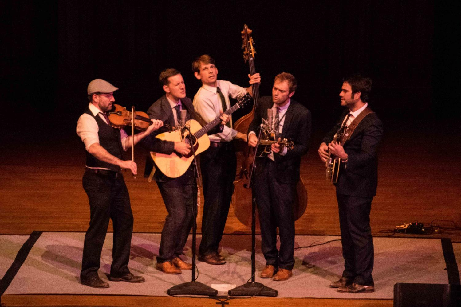 The Punch Brothers perform in Finney Chapel last night. The sold-out concert was the culmination of their fall residency.