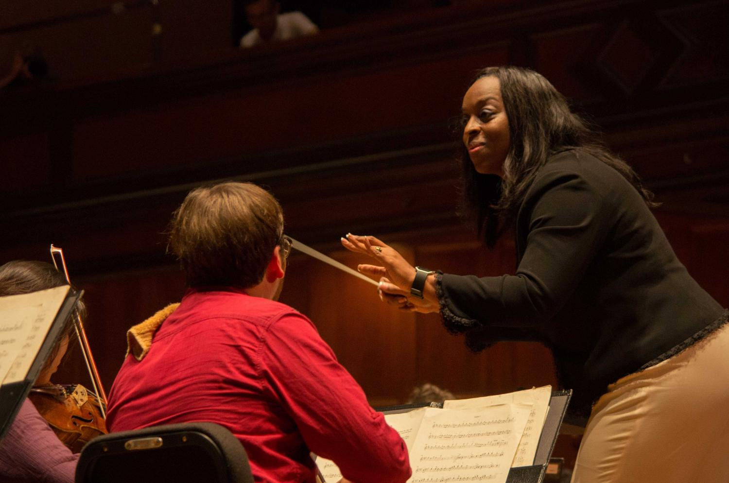 President Carmen Twillie Ambar made her conducting debut last Friday night, leading the Oberlin Orchestra in Johann Strauss' Radetzky March.